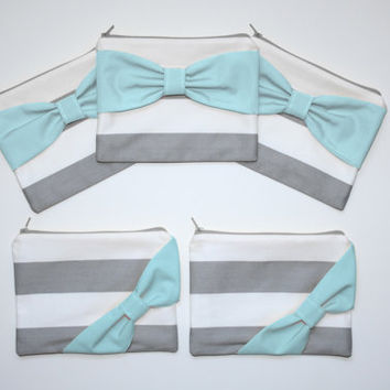 Bridesmaid Gift Set / Bachelorette Party Favors - Gray Stripes with Aqua Bow - Customizable Wedding Cases - Choose Quantity and Bow Style