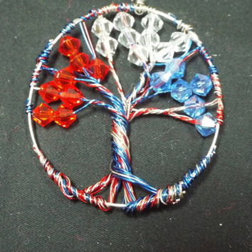 Tree of life, American / Freedom Red White and Blue Swarovski Crystal Wire Wrapped Tree, Independence Charm