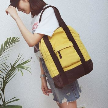 University College Backpack Fashion Simple Ladies Chic Canvas  New  Wind All Match Student Shoulder Bag Hot Casual Solid Color AT_63_4