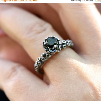 Octopus tentacle Ring White gold engagement ring with black diamonds adjustable