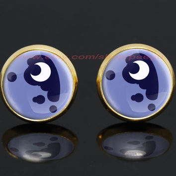 my little pony princess luna alicorn cutie mark mlp gold plated stud post earrings,girlfriend gift Bridesmaid Gift