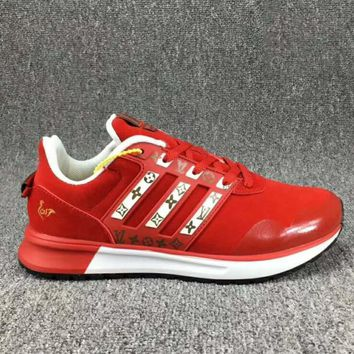 One-nice™ Adidas x LV Louis Vuitton Fashion Trending Leisure Running Sports Shoes Red I-CSXY