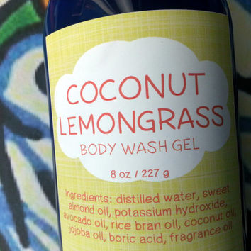 Coconut Lemongrass Body Wash Gel ~ Shower Gel ~ Liquid Body Soap ~ Body Shampoo