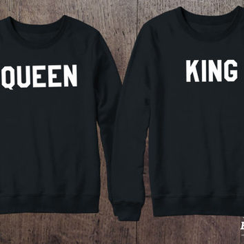 King and Queen Crewnecks Couple set, King and Queen Sweaters Couple set, 50/50% Cotton/Polyester Crewneck, Black, UNISEX