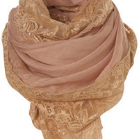 Peach Lace Trim Scarf - Scarves - Accessories - Topshop