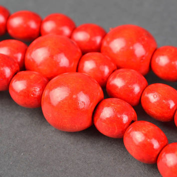 Red necklace with large wooden beads ethnic jewelry handmade women's gift ideas