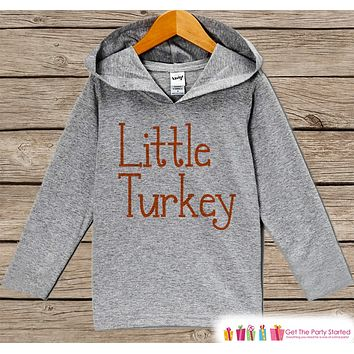 Kids Thanksgiving Shirts - Little Turkey Outfit - Boy or Girls Happy Thanksgiving Shirt - Grey Hoodie Kids Pullover - Happy Turkey Day Shirt