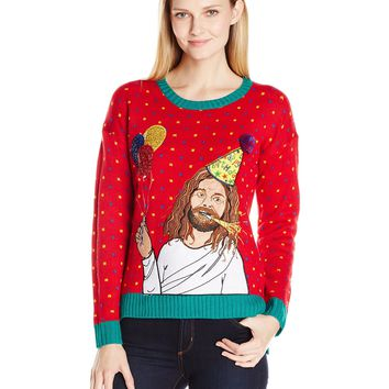 Blizzard Bay Women's Happy Birthday Jesus Ugly Christmas Sweater Red/Green Large
