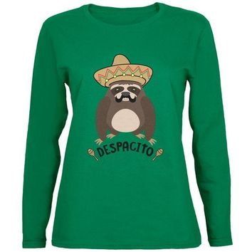 LMFCY8 Despacito Means Slowly Funny Sloth Pun Womens Long Sleeve T Shirt