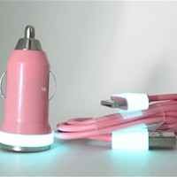 Teal Glow in the Dark trim on Pink iPhone car charger set