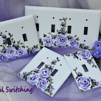 PURPLE PASSION Hand Painted Roses Triple Toggle Switch Plate Cover FREE Shipping