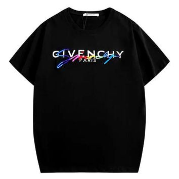 Givenchy 2019 new double-layer letter rainbow three-dimensional embroidery printed round neck half-sleeved T-shirt Black