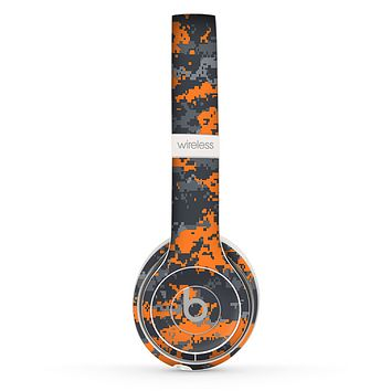 The Bright Orange and Gray Digital Camouflage Skin Set for the Beats by Dre Solo 2 Wireless Headphones