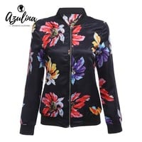 AZULINA Floral Print Women Bomber Jacket 2017 Spring Long Sleeve Flowers Printed Casual Female Basic Baseball Jackets Coats