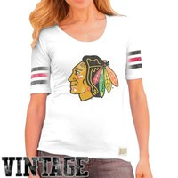Original Retro Brand Chicago Blackhawks Ladies 3-Stripe Primary Logo Scoop T-Shirt - White