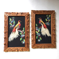 Vintage Mexican Feather Art 1950s Hand Carved Wood Frame Real Bird Feathers Mid Century Wall Art Mexican Folk Art Set of Two
