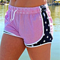 Lauren James shorts with a seersucker print.