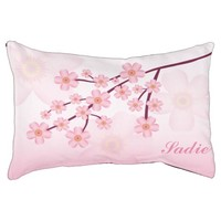 Pink Sakura Cherry Blossom With Custom Pet Name Dog Bed