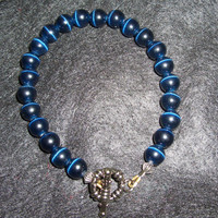 Blue Cats Eye Mens Bracelet by rosebling on Etsy