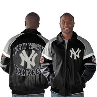 New York Yankees Rivalry Leather Jacket - Black