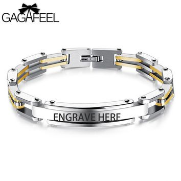 GAGAFEEL Stainless Steel Engrave ID Bracelet Men Jewelry Link Bracelets & Bangles Gold /Silver/ Black Color 20.5CM Dropshipping