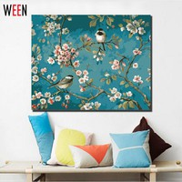 Magpie  Flower  Painting  Numbers  Canvas  Digital