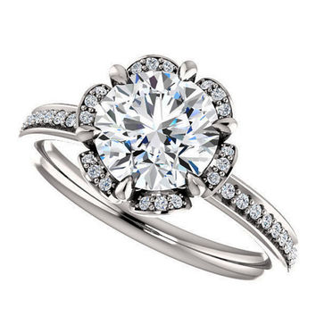 amora gem madeline ring - 1.4 carat vintage style engagement ring, diamonds, 14k white gold