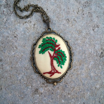 Embroidered Tree of Life on Ivory Fabric Necklace, Handcrafted Jewelry, Unusual gift