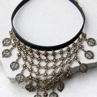 In a Trance Black and Gold Choker Necklace
