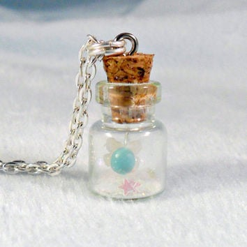 Fairy In A Bottle, Firefly Fairy Glitter Dust Necklace, Silver Plated Necklace, Cute, Kawaii :D