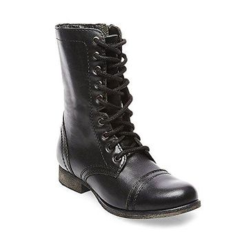 Steve Madden Women's Troopa Lace-Up Boot, Black Leather , 5 M