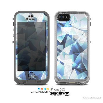 The Abstract Blue Overlay Shapes Skin for the Apple iPhone 5c LifeProof Case