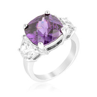 Jonquil Amethyst Purple Cushion Cut Cocktail Ring | 9ct | Cubic Zirconia | Silver