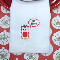 Be Merry Owl Christmas Embroidered Cloth Napkins, Christmas napkins