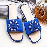 LV Louis Vuitton Popular Women Casual Rhinestone Diamond Slipper Sandals Shoes Blue I