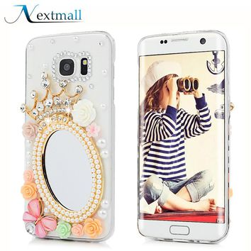 Luxury Bling 3D Rhinestone Mirror Case for iphone 6 6s 7 plus Diamond Mobile Phone Shell for Huawei P8 lite P10 lite Phone cases