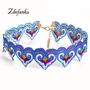 2017 Fashion Cowboy Embroidery Flower Chokers Necklaces Fabric Big Necklace For Women Brand Designer Colorful Girl's Jewelry