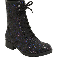Black & Purple Glitter Combat Boots