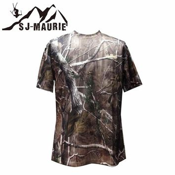 Outdoor Hunting Fishing Camouflage T-shirt Men Breathable Army Tactical Combat T-Shirt Quick Dry Sport Camo Camp Tees