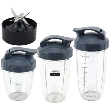 18 oz 24 oz 32 oz Cups with Flip To Go Lids & Extractor Blade Deluxe Upgrade Kit for NutriBullet Lean NB-203 1200W Blender