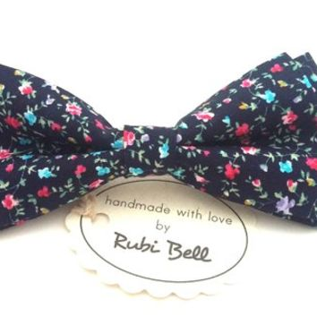 Blue bow Tie - floral bow tie - wedding bow tie - navy bow tie with pink and blue flower pattern - man bow tie - men bow tie - gifts for him
