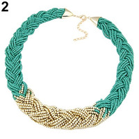 Girls fashion Bohemian Jewelry Knitted Bead Chain Gold Pendant Vintage Short Choker Necklace awesome poplk
