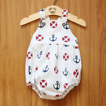 Sale Buoy and Anchor Baby Boy Romper Baby Romper Bubble Romper Anchor Romper Beach Summer Romper Sunsuit Playsuit Baby Shower Gift Birthday