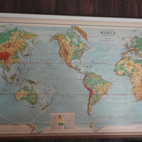 Antique Special Ranally Map Physical Political World Modified Projection Spring Roller Pull Down