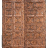 Santa Fe Style Hand Carved Prehung Double Doors in Mahogany