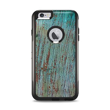 The Chipped Teal Paint on Aged Wood Apple iPhone 6 Plus Otterbox Commuter Case Skin Set