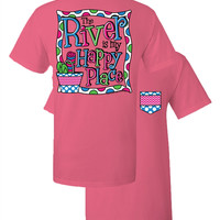 Southern Couture The River is My Happy Place Chevron Faux Pocket Pink Girlie Bright T Shirt