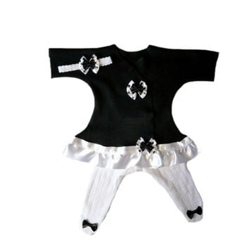 Baby Girls' Black Sassy Dress Set with Polka Dot Bows