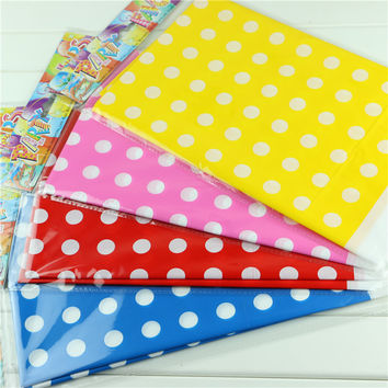 4 color lovely polka dot plastic polka dot tablecloth 1 pc for kids happy birthday party decoration 108*180cm tablecover