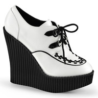 Demonia Creeper 302 White Vegan Leather Wedge Oxford Shoe